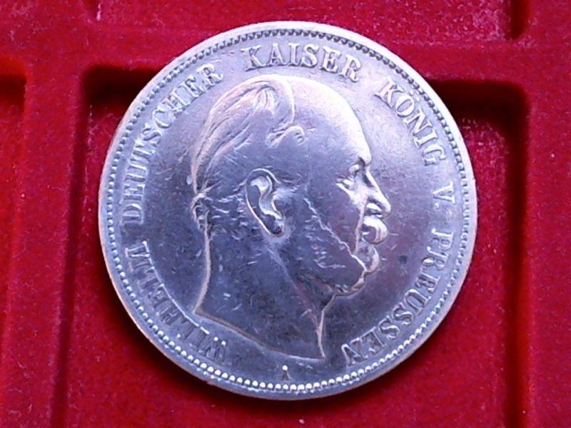 A TOP-Münze :Preussen 5 Mark von 1876 A Wilhelm I. ERHALTUNG , ss+ - vz