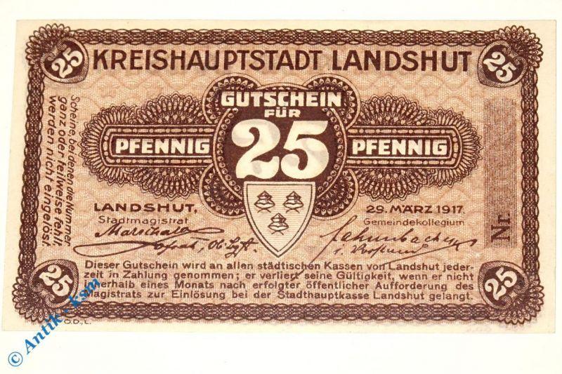 Notgeld Landshut , 25 Pfennig Musterschein o. Kennummer  3845.05.01.M in kfr/unc