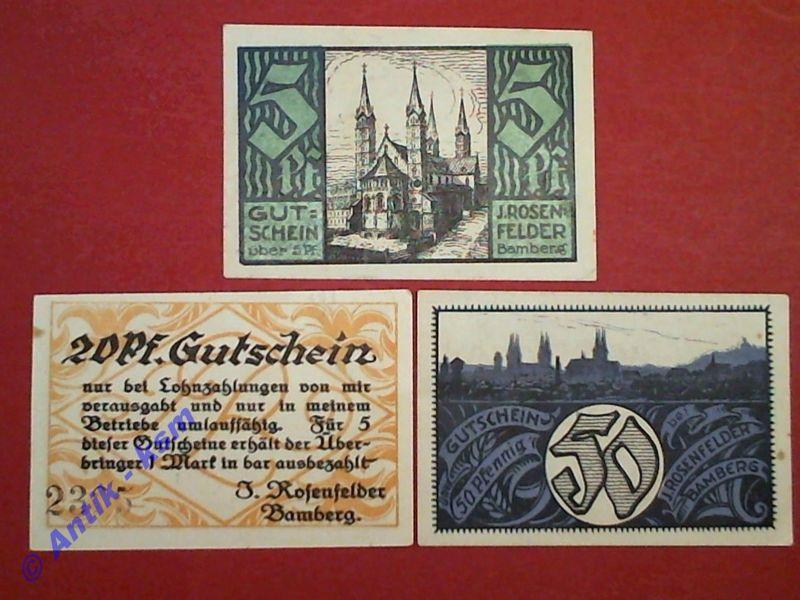 A 3 x Notgeld Bamberg J. Rosenfelder , emergency Money , komplett , kfr --selten