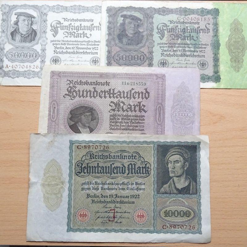 A  Lot Banknoten Deutschland : 2 x 50.000, 10.000 und 100.000  Mark / Reichsmark