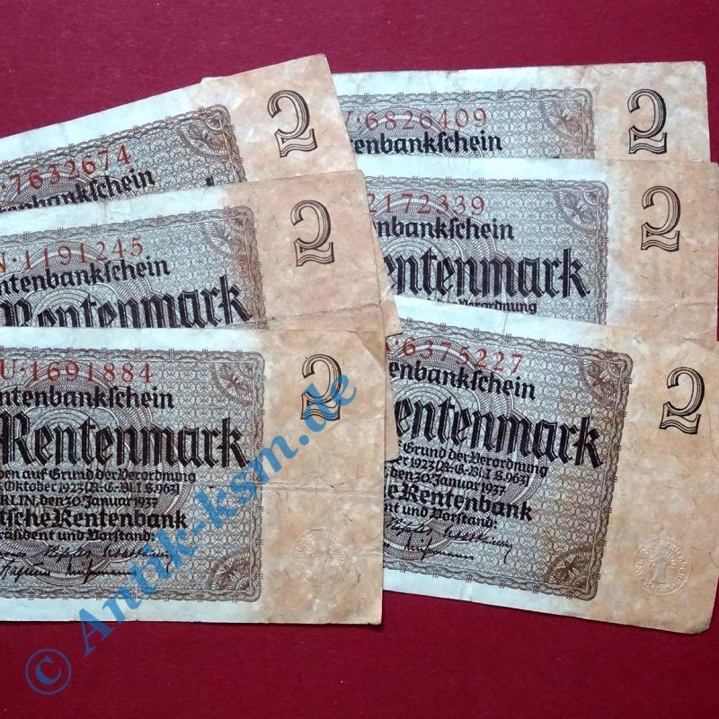 Rentenbankschein über 2 Rentenmark , Kennummer = 7-Stellig , vom - 30.01.1937 -