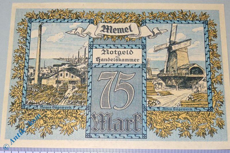 Notgeld der Handelskammer Memel , 75 Mark, Rosenberg MEM-8 , Kleipeda , kfr/unc