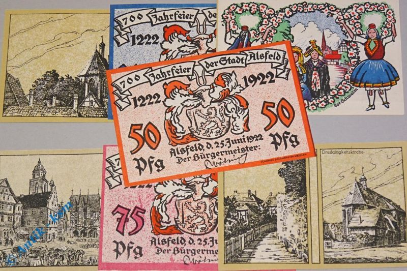 7 x Notgeld Alsfeld , 7 x german emergency money , M/G 16.1 ,  kfr./unc 0