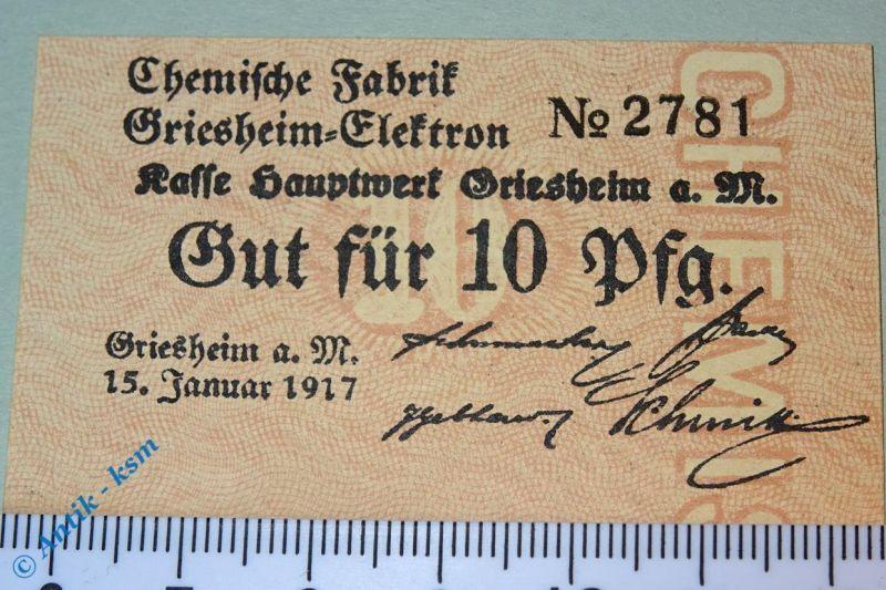 Notgeld Griesheim Elektron , chemische Fabrik , 10 Pfennig  2460.05.02.1 kfr/unc
