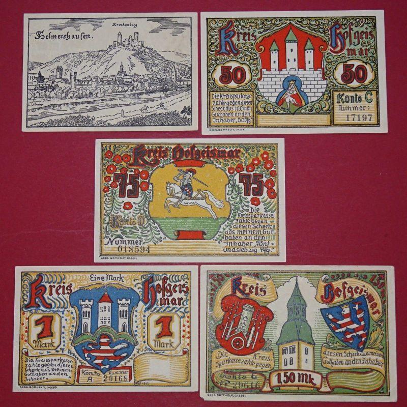 5 x Notgeld Hofgeismar , Wappenserie , emergency money , M/G 619.1 , kfr./unc