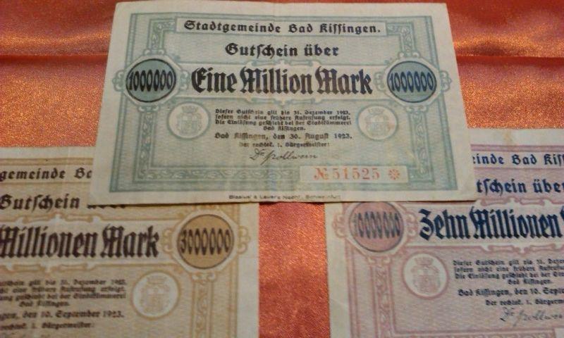 A Groß-NOTGELD Stadtgemeinde Bad Kissingen 1,3 & 10 Mio Mark, 1923 - sehr selten