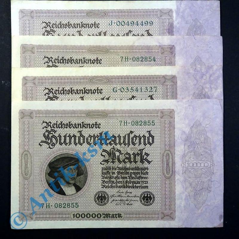 4 x Reichsbanknote 100.000 Mark , Kaufmann Gisze , von H. Holbein vom 01.03.1923