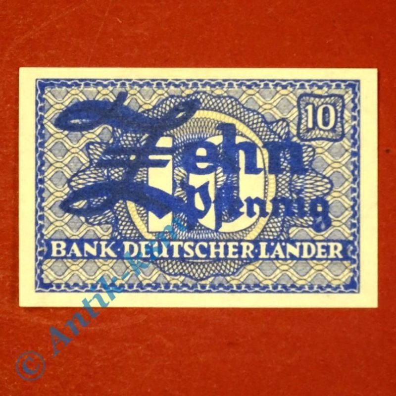 Banknote über 10 Pfennig , Kopfgeld Bank deutscher Länder , Ros. 251 , kfr/unc