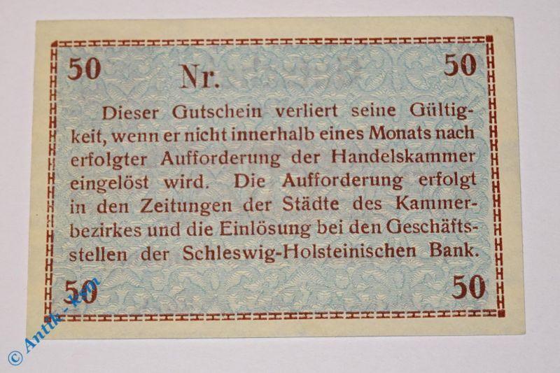 Notgeld Flensburg , 50 Pf braun , Musterschein ohne Kennummer  1885.15.01.M kfr