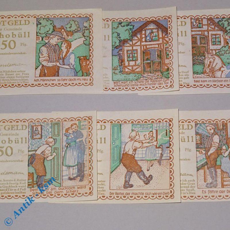 6 x Notgeld Schobüll , 6 x german Notgeld Schobüll , M/G 1194.5 ,  kfr./unc