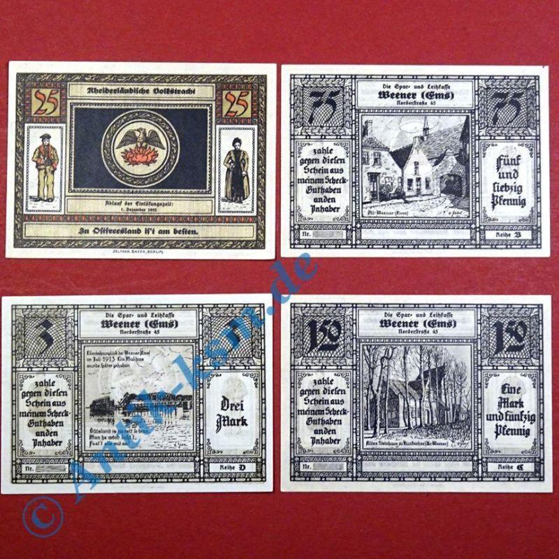 4 x Notgeld Weener , Sparkasse , german emergency money , M/G 1389.1 ,  kfr./unc