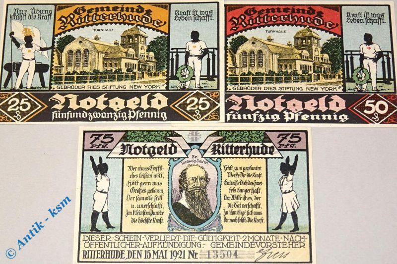 3 x Notgeld Ritterhude , 3 x german emergency money M/G 1126.2 ,  kfr./unc