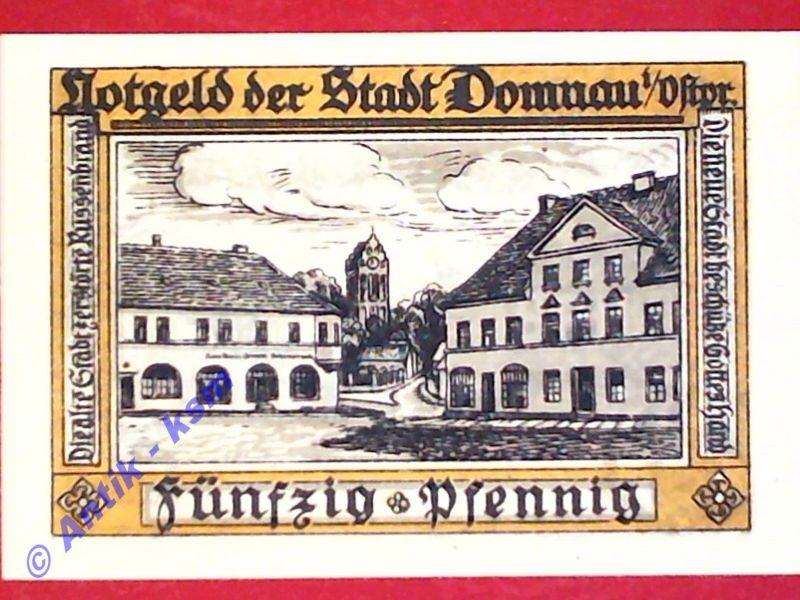 Notgeld Domnau , 50 Pfennig , verschl. Kreise , Mehl Grabowski 280.2 , kfr./unc