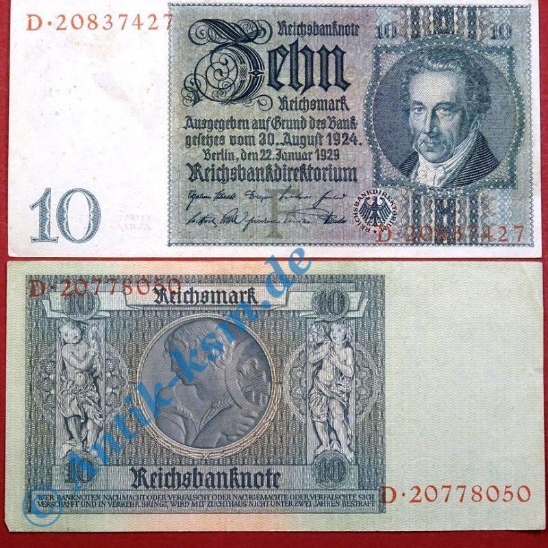Reichsbanknote 10 Mark, Rosenberg 173a , F , Reichsmark, Banknote vom 22.01.1929