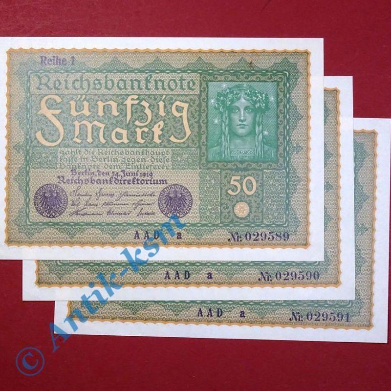 3 x Banknoten über 50 Mark / Reichsmark,