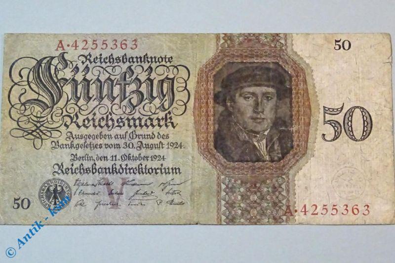Reichsmark Reichsbanknote über 50 Mark , V/A , Ros. 170 a , Holbein , von 1924