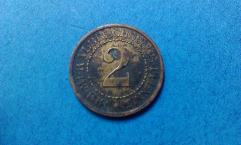 A   Münze Bremen - Messing ohne Jahr 2 Verrechnungs-Pfennig - sehr selten