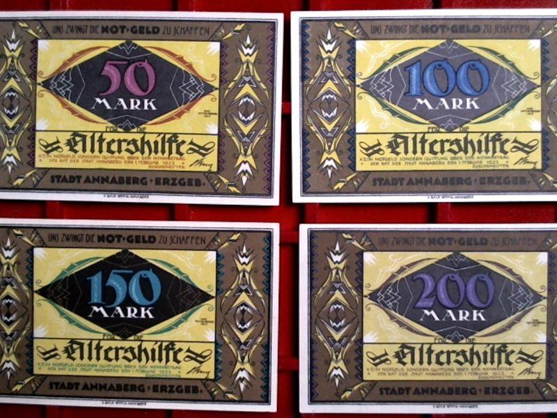 - 4 x Top Notgeld ANNABERG: 50 bis 200 Mark ANNABERG Altershilfe  kfr/unc -RRRR-
