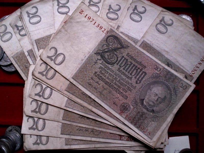 Banknote deutsches Reich : 20 Mark / Reichsmark von 1929 -- bitte wählen Sie --