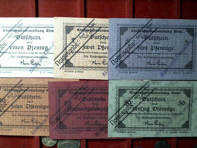 A  6 x NOTGELD ETTAL, Klosterverwaltung, 1 - 50 Pfennig,  Notausgabe, April