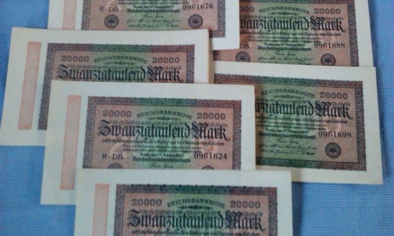 - Banknote über 20.000 Mark/Reichsmark vom 20.02.1923 / DB-7 stellig - kfr/unc -