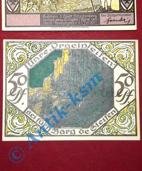 TOP Notgeld Scheibenberg ohne Kennummer , 50 Pfennig Nr 4 , M/G 1175.1 B kfr/unc