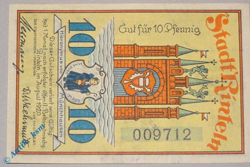 Notgeld Rinteln , 10 Pfennig ohne Signatur , M/G 1125.1 a , emergency money ,kfr