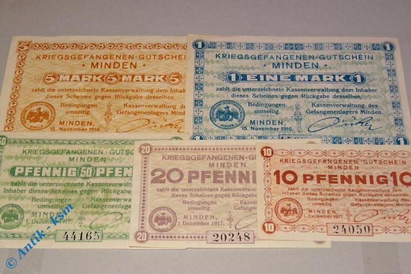 5 x Kriegsgefangenen Lagergeld Minden , 5 Scheine von 1916 / 1917 , kfr/unc