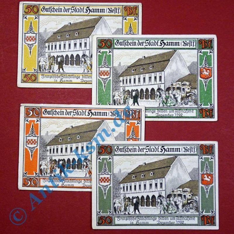 Notgeld Hamm , 4 x 50 Pfennig Scheine , Mehl Grabowski 568.4 , emergency Money