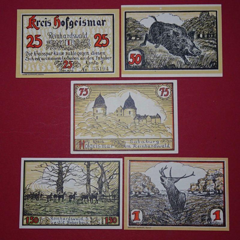 5 x Notgeld Hofgeismar , Reinhardswald , emergency money , M/G 619.2 , kfr./unc