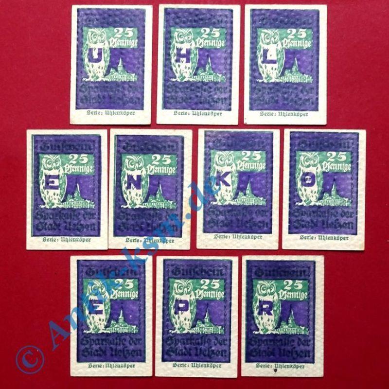 A  10 x Notgeld Uelzen , Uhlenköper , 10 x 25 Pfennig kompl.  kassenfrisch / unc