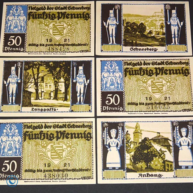 6 x Notgeld Schneeberg , 6 x german emergency money , M/G 1190.1 ,  kfr./unc