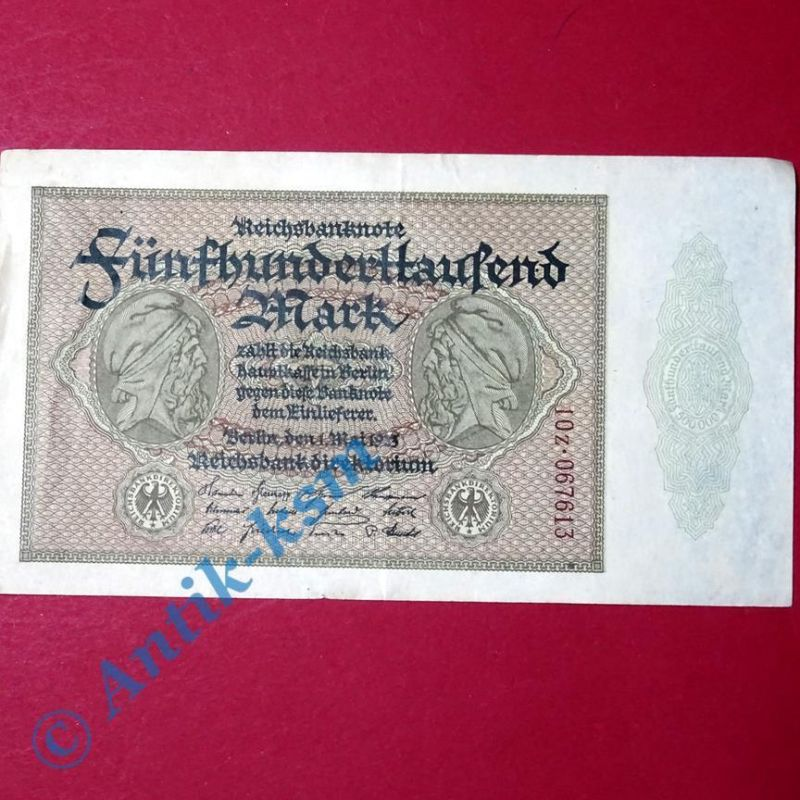 1 x Reichsbanknote über 500.000 Mark , Ros 87 G Banknote von 1923  1 x Kn rechts