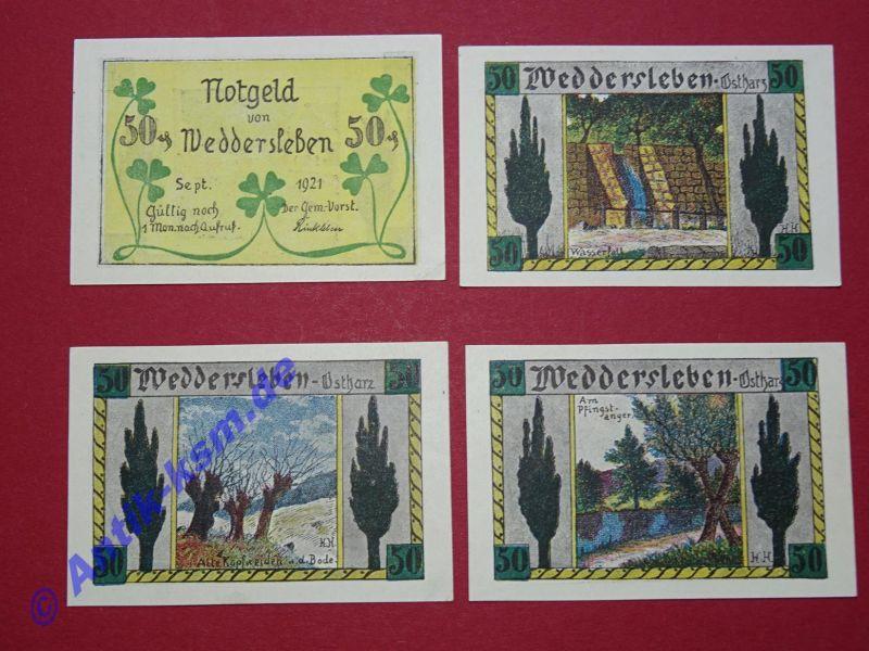 4 x Notgeld Weddersleben , german emergency Money , M/G 1386.3 , kfr/unc