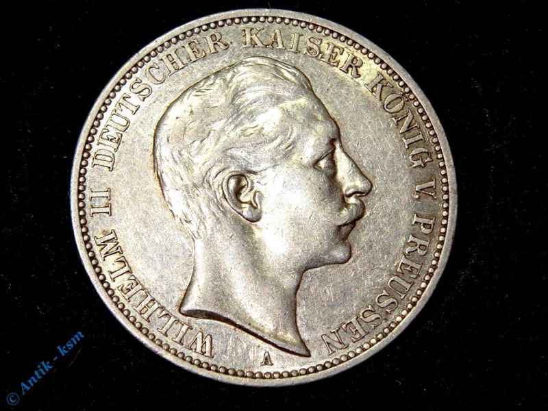Münze 3 Mark Silbermünze Preussen Kaiser Wilhelm II von 1912 , tolle Erhaltung