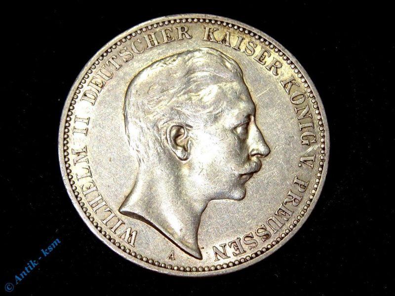 Münze 3 Mark Silbermünze Preussen Kaiser Wilhelm II von 1910 , tolle Erhaltung