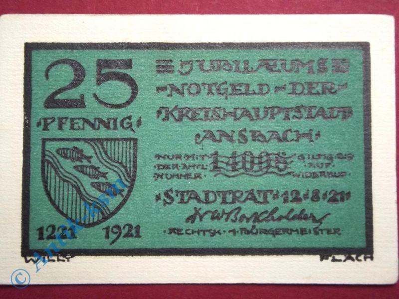 Notgeld Ansbach , 25 Pfennig Schein 1729 , Mehl Grabowski 35.2 B , von 1921 , Ba