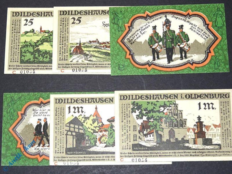 6 x Notgeld Wildeshausen , 6 x Buchst. C mit Kennummer , Mehl Grabowski 1426.2 e