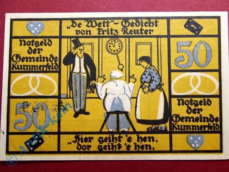 Notgeld Kummerfeld , 50 Pfennig Schein 1 , Mehl Grabowski 749.9 , WZ = Flämmchen