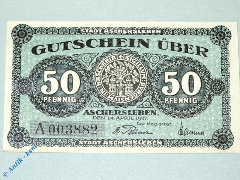 Notgeld Aschersleben , 50 Pfennig Schein mit A , Tieste 0225.10.21 , von 1917