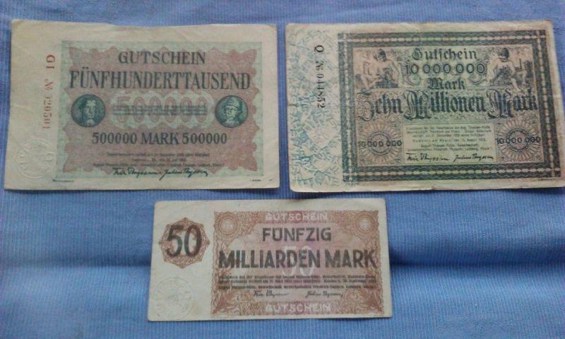 A 3 x Großnotgeld / Gutscheine Fa. Thyssen , 500.000 bis 50 Milliarden Mark