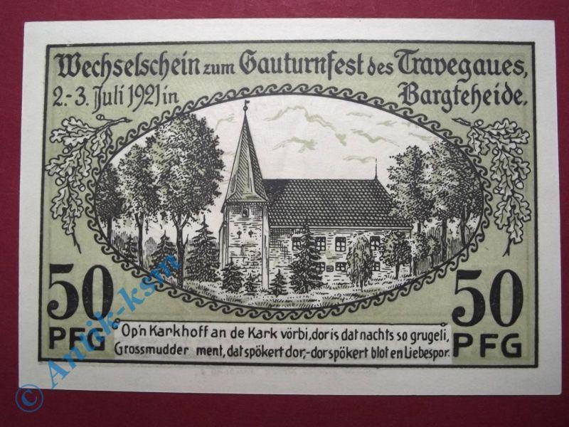 Notgeld Bargteheide , Gauturnfest , 50 Pfennig Schein Nr. 2 , Mehl Grabowski 63.