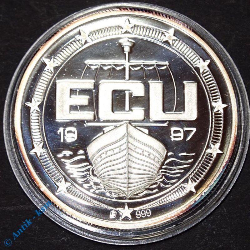 Feinsilber 999 Münze , Medaille , ECU , Dänemark , 40 mm , 20 gramm , 1997