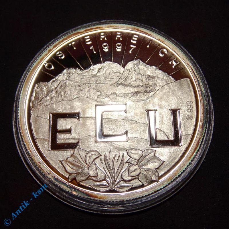 Feinsilber 999 Münze , Medaille , ECU , Declarationof Accession to the EU 1997