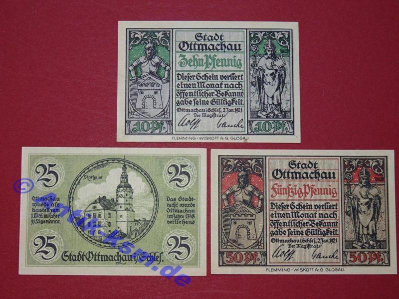 3 x Notgeld Bad Ottmachau , Polen Otmuchow vollständiger Satz 3 Scheine kfr/unc