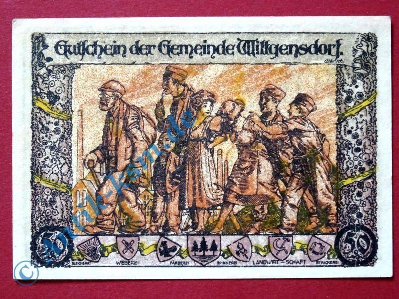 Selten : Notgeld Wittgensdorf , Fehlfarben , 50 Pfennig Arbeiterfamilie - selten