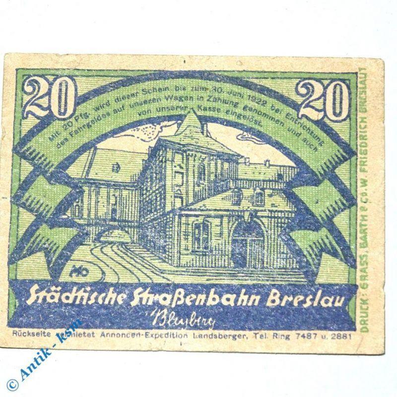 Notgeld Straßenbahn Breslau , Wroclaw , 20 Pfennig Schein Nr 4.11 , M/G 187.1