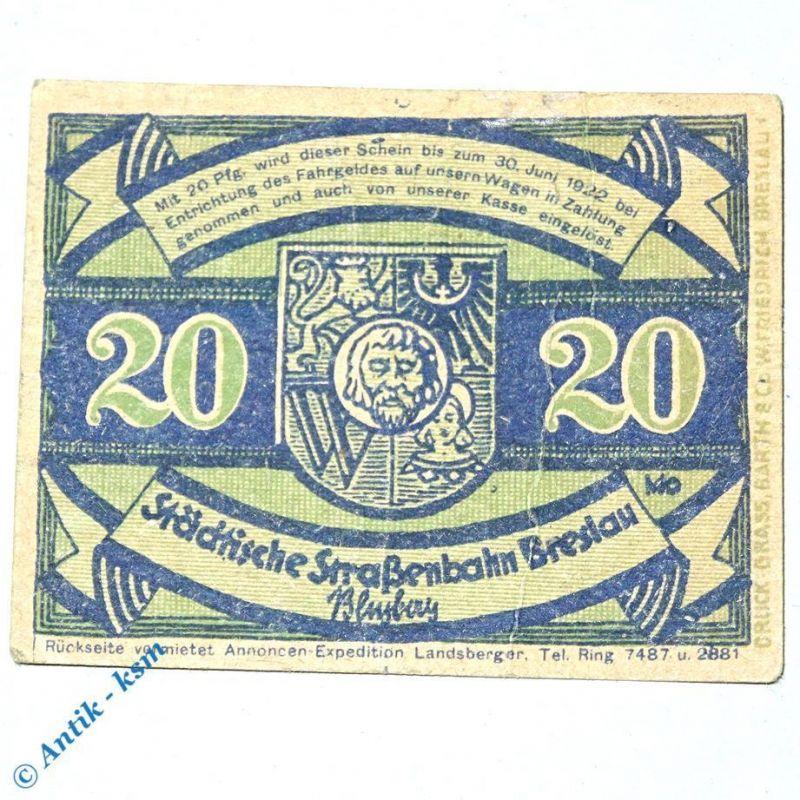 Notgeld Straßenbahn Breslau , Wroclaw , 20 Pfennig Schein Nr 1.10 , M/G 187.1