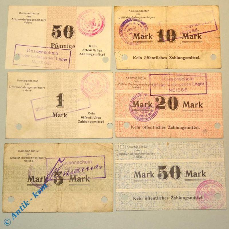 6 x Notgeld Neisse , Offiziers Gefangenen Lager Geld , POW , 50 Pf. bis 50 Mark