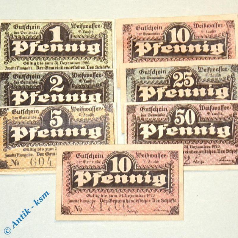 7 x Notgeld Weißwasser , 5 bis 50 Pfennig , Tieste 7805.05.20 - 32 , komplett